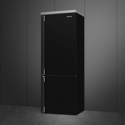 Combina frigorifica retro Smeg Portofino FA490RBL5, Total No Frost, 70 cm, clasa E, neagra