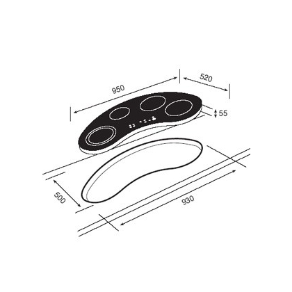 Plita incorporabila vitroceramica Teka VR TC 95 / GKST 95 NDZ, forma bumerang