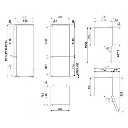 Combina frigorifica retro Smeg Portofino FA490RR5, Total No Frost, 70 cm, clasa E, rosu
