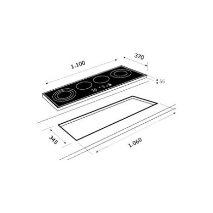 Plita incorporabila pe gaz din cristal Teka EGW LUX 110 3G 2TR CI, 110 cm