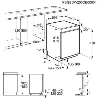 Masina de spalat vase partial incorporabila Electrolux EEA17100IX, AirDry, 13 seturi, 5 programe, 60 cm, Inverter, clasa F
