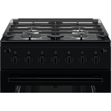 Aragaz mixt Electrolux LKG604000K, gratare fonta, autocuratare catalitica, rotisor, 54 l , clasa A, 60 cm, negru