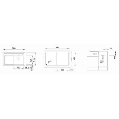 Chiuveta Blanco ZENAR 45 S, silgranit, jasmin, 86 cm, 523790