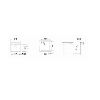 Chiuveta BLANCO DALAGO 5, silgranit, gri periat, 50 cm, 518848
