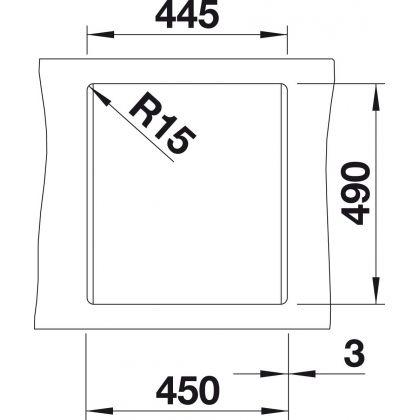 Chiuveta BLANCO DALAGO 45, silgranit, alumetalic, 46 cm, 517157