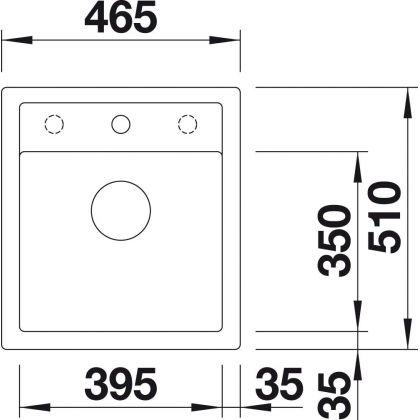 Chiuveta BLANCO DALAGO 45, silgranit, gri piatra, 46 cm, 518846