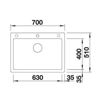 Chiuveta BLANCO PLEON 8 Silgranit InFino, jasmin, 70 cm, 523048