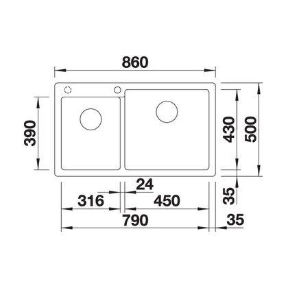 Chiuveta BLANCO PLEON 9 Silgranit InFino, gri piatra, 90 cm, 523058