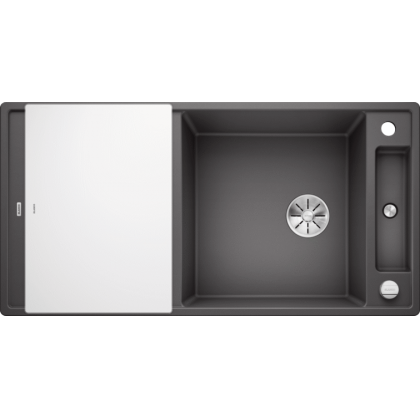 Chiuveta BLANCO AXIA III XL 6 S Silgranit InFino cu tocator sticla, gri piatra, 100 cm, 523511