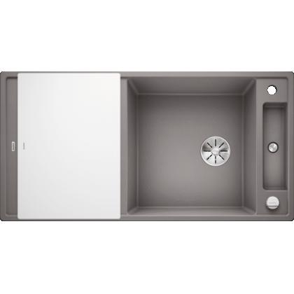 Chiuveta BLANCO AXIA III XL 6 S Silgranit InFino cu tocator sticla, alumetalic, 100 cm, 523512