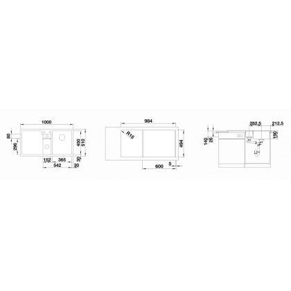 Chiuveta bucatarie BLANCO COLLECTIS 6 S Silgranit InFino, cos de sortare, cafea, 100 cm, 523353