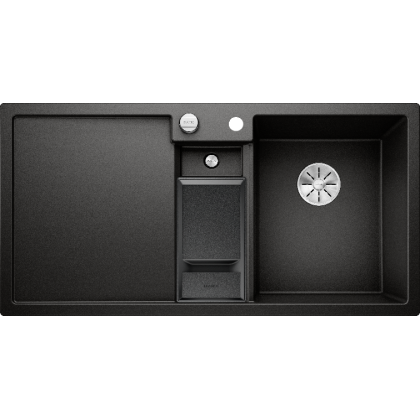 Chiuveta bucatarie BLANCO COLLECTIS 6 S Silgranit InFino, cos de sortare, neagra, 100 cm, 525866