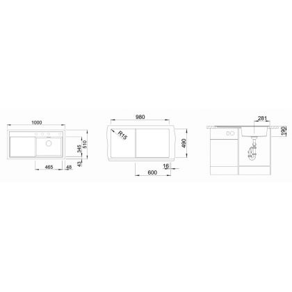 Chiuveta BLANCO ZENAR XL 6 S Silgranit InFino, antracit, 100 cm, 523964