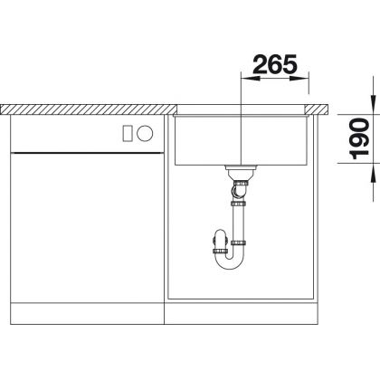 Chiuveta cu montare sub blat BLANCO SUBLINE 500-U InFino, silgranit, gri piatra, 50 cm, 523433