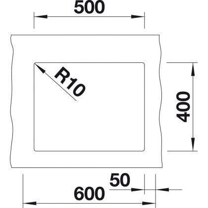 Chiuveta cu montare sub blat BLANCO SUBLINE 500-U InFino, silgranit, cafea, 50 cm, 523441