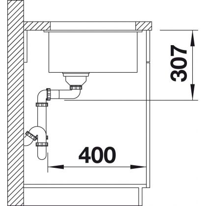 Chiuveta cu montare sub blat BLANCO SUBLINE 500-U InFino, silgranit, neagra, 50 cm, 525995