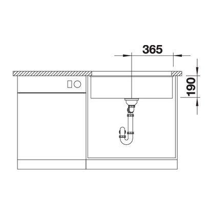 Chiuveta cu montare sub blat BLANCO SUBLINE 700-U InFino, silgranit, antracit, 70 cm, 523442