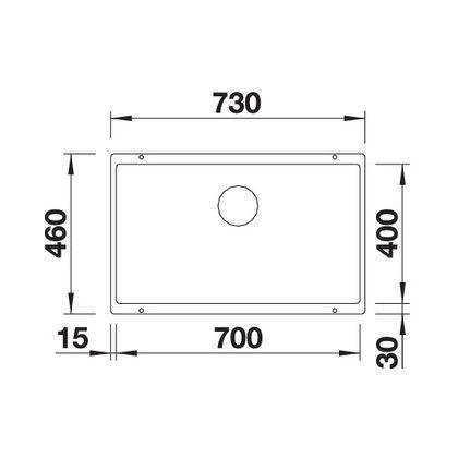 Chiuveta cu montare sub blat BLANCO SUBLINE 700-U InFino, silgranit, gri piatra, 70 cm, 523443