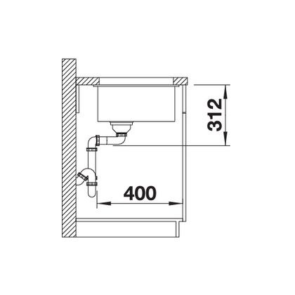 Chiuveta cu montare sub blat BLANCO SUBLINE 700-U InFino, silgranit, neagra, 70 cm, 526001