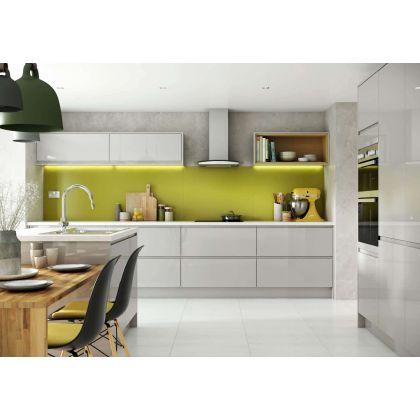 Panou antistropire AluSplash gama Elegance Olive Green / Arctic White, 564.64.007, 3300x750 mm, 4 mm grosime, suprafata lucioasa