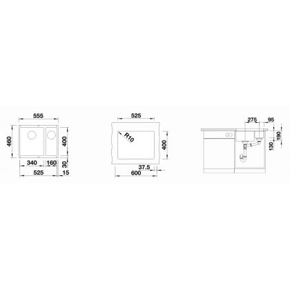 Chiuveta cu montare sub blat BLANCO SUBLINE 340/160-U InFino, silgranit, alumetalic, 60 cm, 523550