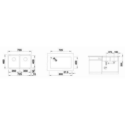 Chiuveta cu montare sub blat BLANCO SUBLINE 350/350-U InFino, silgranit, neagra, 80 cm, 525987