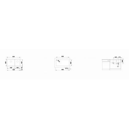 Chiuveta cu montare sub blat BLANCO SUBLINE 480/320-U InFino, silgranit, gri piatra, 90 cm, 523585