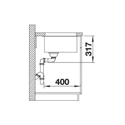 Chiuveta cu montare sub blat BLANCO ETAGON 500-U InFino, silgranit, gri perlat, 50 cm, 522230