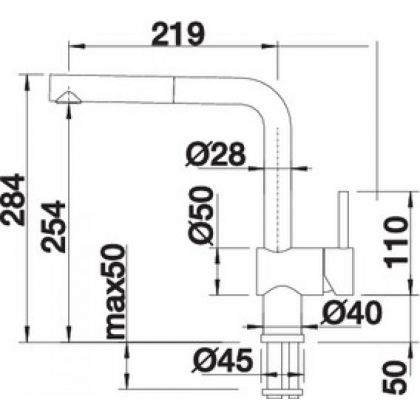 Bateria de bucatarie Blanco LINUS-S, silgranit, extractabil, negru, 526148