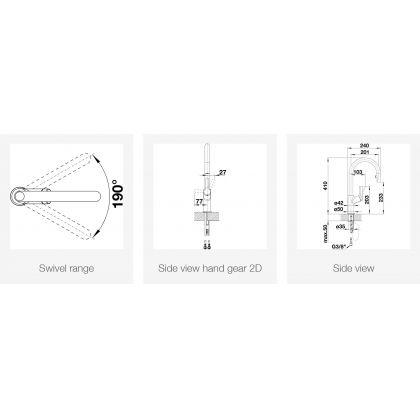 Baterie de bucatarie BLANCO CARENA-S Vario cu furtun extractibil, jasmin/crom, 521372
