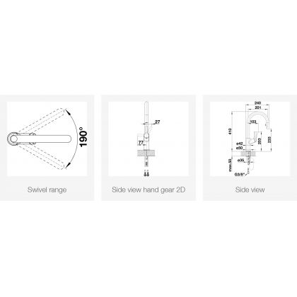 Baterie de bucatarie BLANCO CARENA-S Vario cu furtun extractibil, negru/crom, 526172