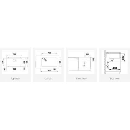 Chiuveta cu montare sub blat BLANCO ETAGON 700-U, silgranit, 70 cm, alb, 525171