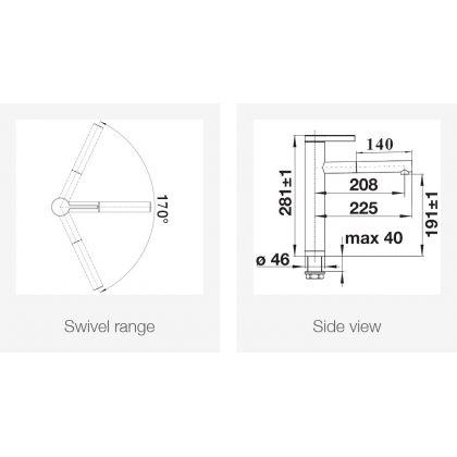 Baterie de bucatarie BLANCO LINEE-S Silgranit cu furtun extractibil, antracit/crom, 518438