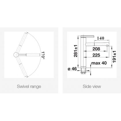 Baterie de bucatarie BLANCO LINEE-S Silgranit cu furtun extractibil, gri piatra/crom, 518804