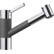Baterie de bucatarie BLANCO TIVO-S, silgranit cu furtun extractibil, gri piatra/crom, 518798