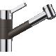 Baterie de bucatarie BLANCO TIVO-S, silgranit cu furtun extractibil, cafea/crom, 517618