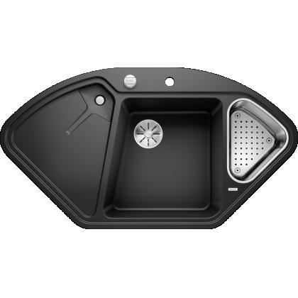Chiuveta bucatarie pe colt BLANCO DELTA II, silgranit, 45 cm, negru, 525867