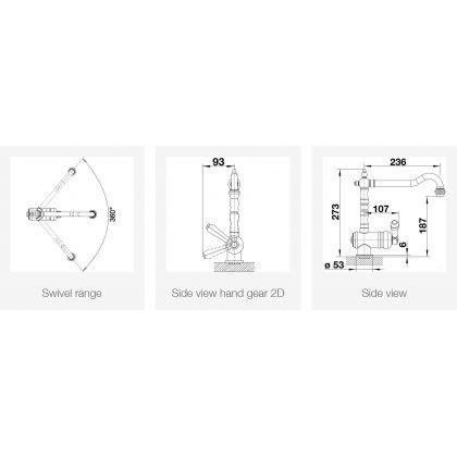 Baterie de bucatarie retro BLANCO TRADON, alama, 273 mm , 520787