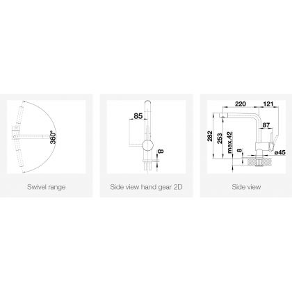 Baterie de bucatarie Blanco LINUS, silgranit, negru, 526149
