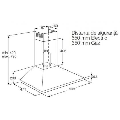 Hota semineu Electrolux EFC60151X, 60 cm