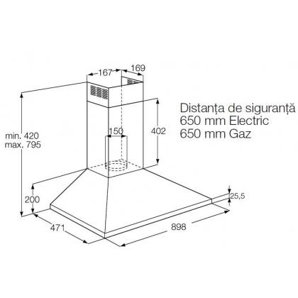 Hota semineu Electrolux EFC90151X, 90 cm