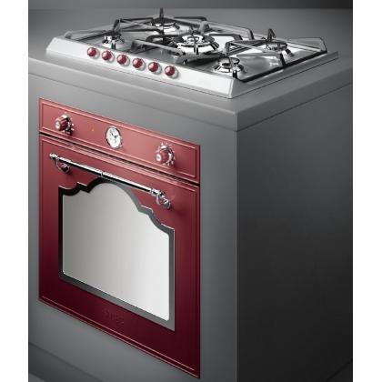 Cuptor incorporabil electric Smeg Cortina SF750RWX, retro, rosu cu estetica argintie, Vapor Clean