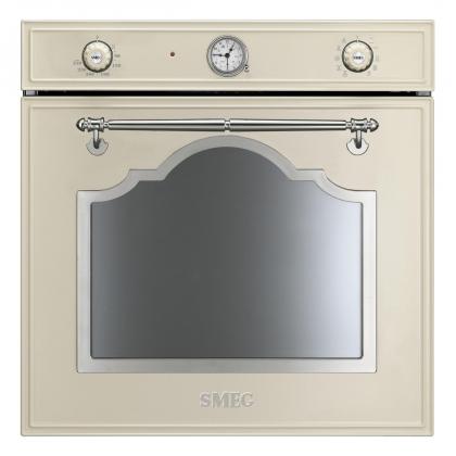 Cuptor incorporabil electric Smeg Cortina SF750PX, retro, crem cu estetica argintie, Vapor Clean