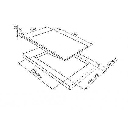Plita incorporabila pe gaz Smeg Piano Design P64ES, 60 cm
