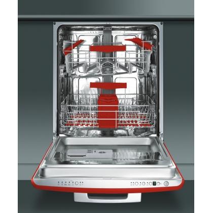 Masina de spalat vase retro incorporabila Smeg ST2FABR2, 60 cm, clasa A+++, rosie