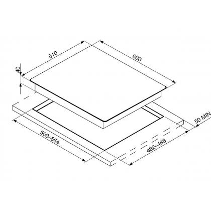 Plita incorporabila vitroceramica pe gaz Smeg Linea PV164N-1, 60 cm