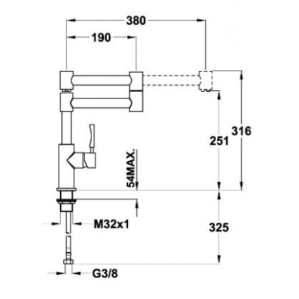 Baterie de bucatarie Teka INX 983, inox, brat pivotant