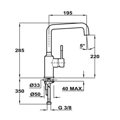 Baterie de bucatarie Teka Frame, crom, aerator integrat