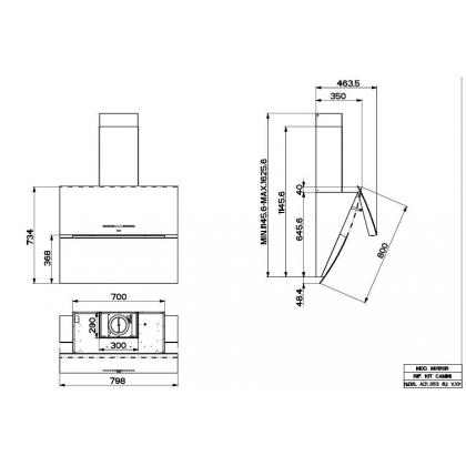 Hota de perete Faber MIRROR BRS BK X/V A80, sticla neagra