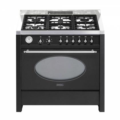Masina de gatit mixta Smeg Opera CS18A-7, antracit, estetica argintie, 90 cm latime, 6 arzatoare